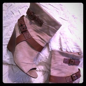 MissSixty Cream Suede+Leather Peep Toe Betty Boots